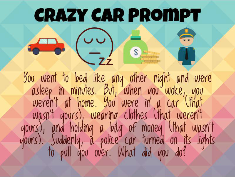 You went to bed like any other night and were asleep in minutes. But, when you woke, you weren't at home. You were in a car, wearing clothes, and holding a bag of money (all of which wasn't yours). Suddenly, a police car turned on its lights to pull you over. What do you do?
