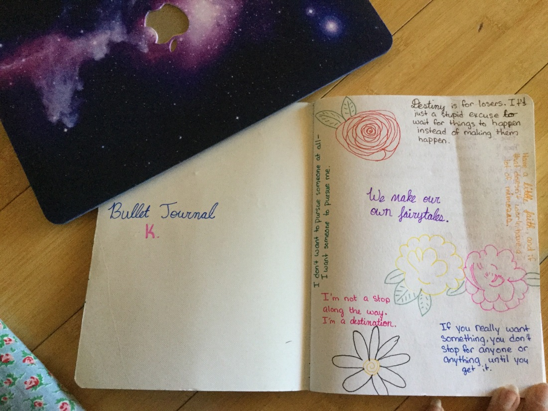 The first page of my bullet journal, full of inspirational quotes.