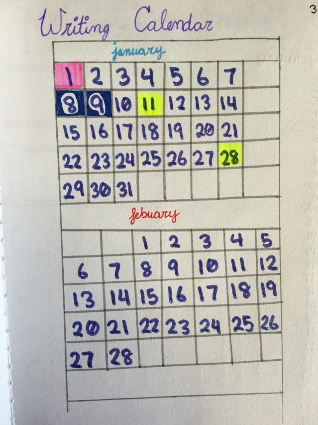 An image of a writing calendar, which helps me track how often I write.
