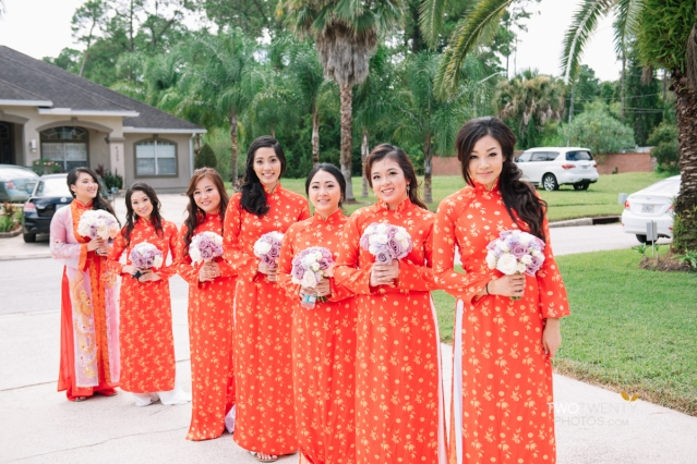 A photo of me and the other bridesmaids in traditional Vietnamese dress at my cousin's wedding
