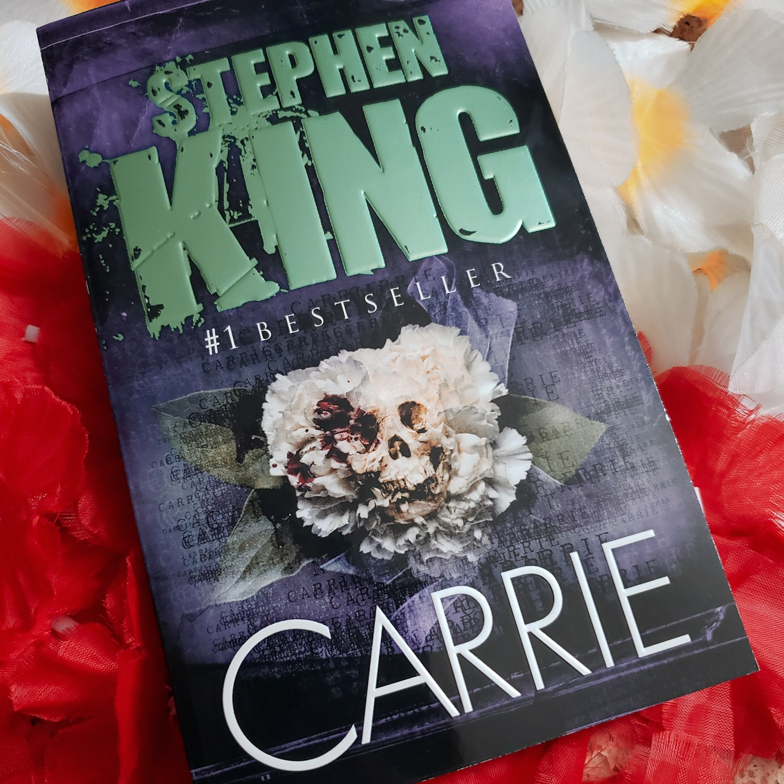 A photo of my copy of Carrie by Stephen King.