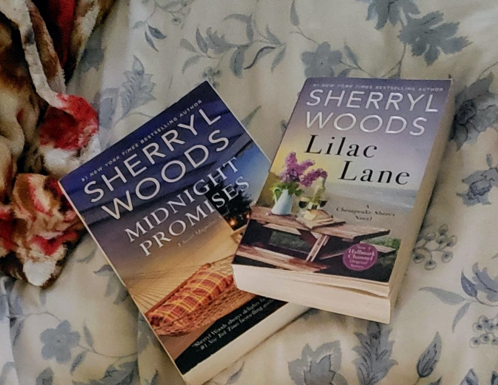 Pictured are books that I have from each of the series I have discussed. Lilac Lane is from The Chesapeake Shores Series, and Midnight Promises are a part of the Sweet Magnolias Series.