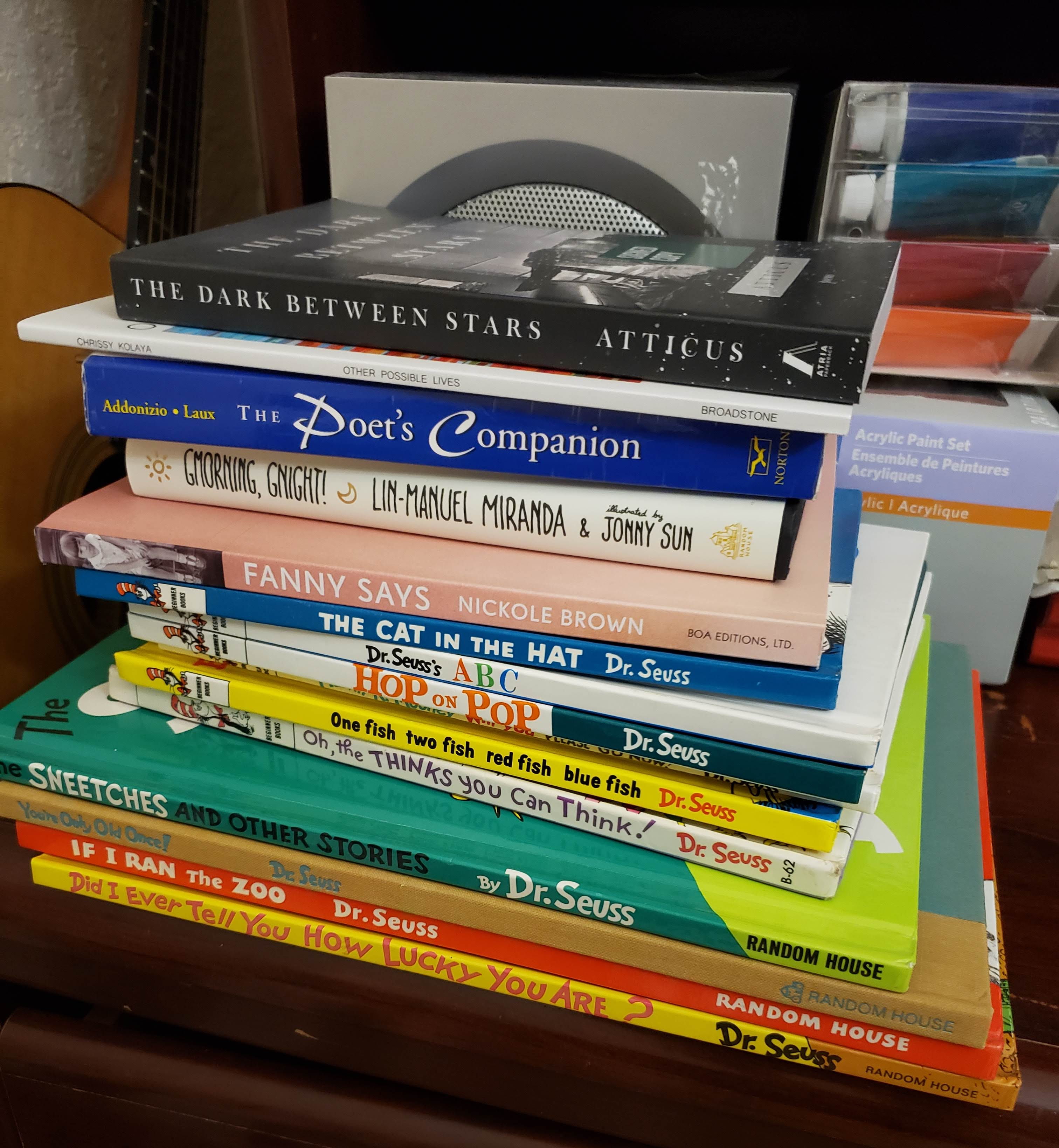 Pictured are the poetry books that I have so far for the Sealey Challenge, but they won't last me beyond the week. Especially if I'm thinking of reading 5 Dr. Seuss books a day. So feel free to share with me some of your favorite poets, because I will be needing it.