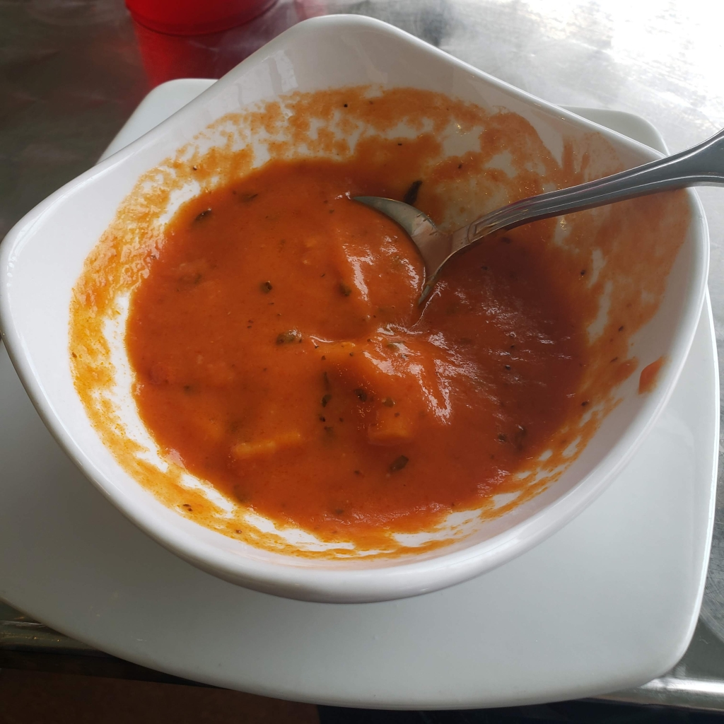 I don't typically love a tomato based soup, because the acidity doesn't sit well in my stomach. However, this soup was perfectly balanced and I probably could've had a whole bowl for the whole meal instead of just having a cup before my entree.