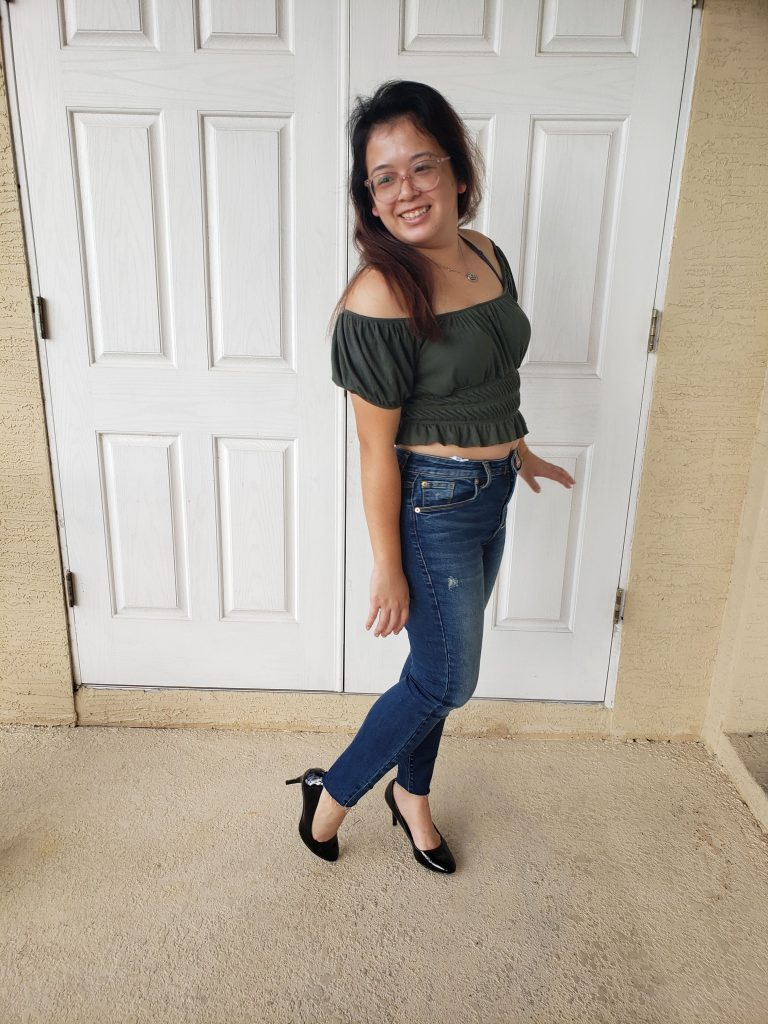 The aforementioned olive green top, which I discovered in my first box of Short Story Box, a fashion subscription service for people who are short like me. If you're interested in testing it out, be sure to use my referral link: https://shortstorybox.com/referral/KristiDao so that we could both maybe benefit.