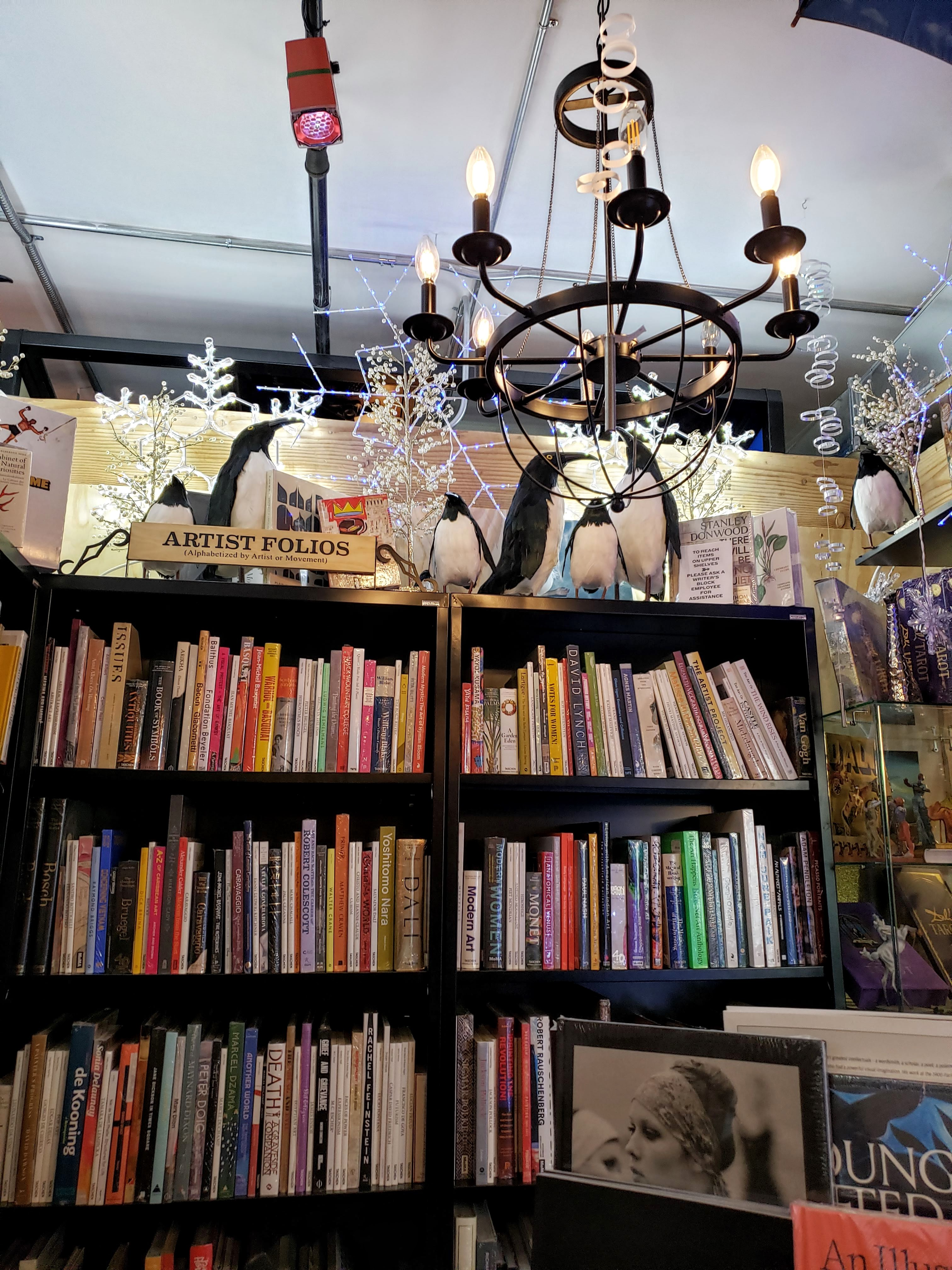 This penguin corner is just one of many of the eclectic corners you'll find at The Writer's Block bookstore in Las Vegas.