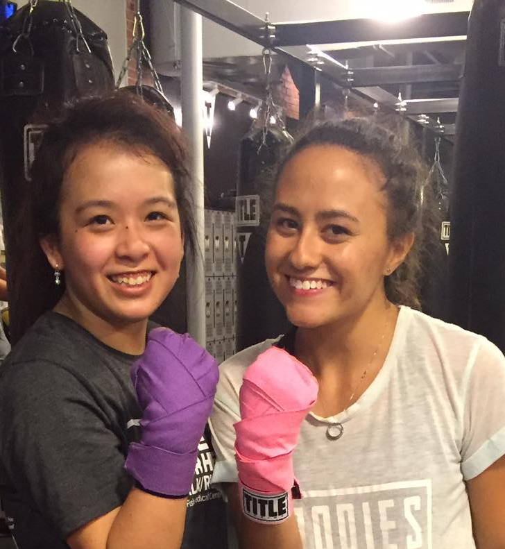 Exercise is always more fun with a friend! Throwing it back with this photo with one of my best friends as we threw a couple of punches at a bag.